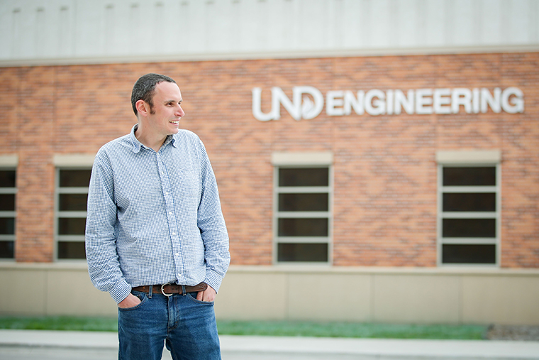 brendan in front of the UND engineering building